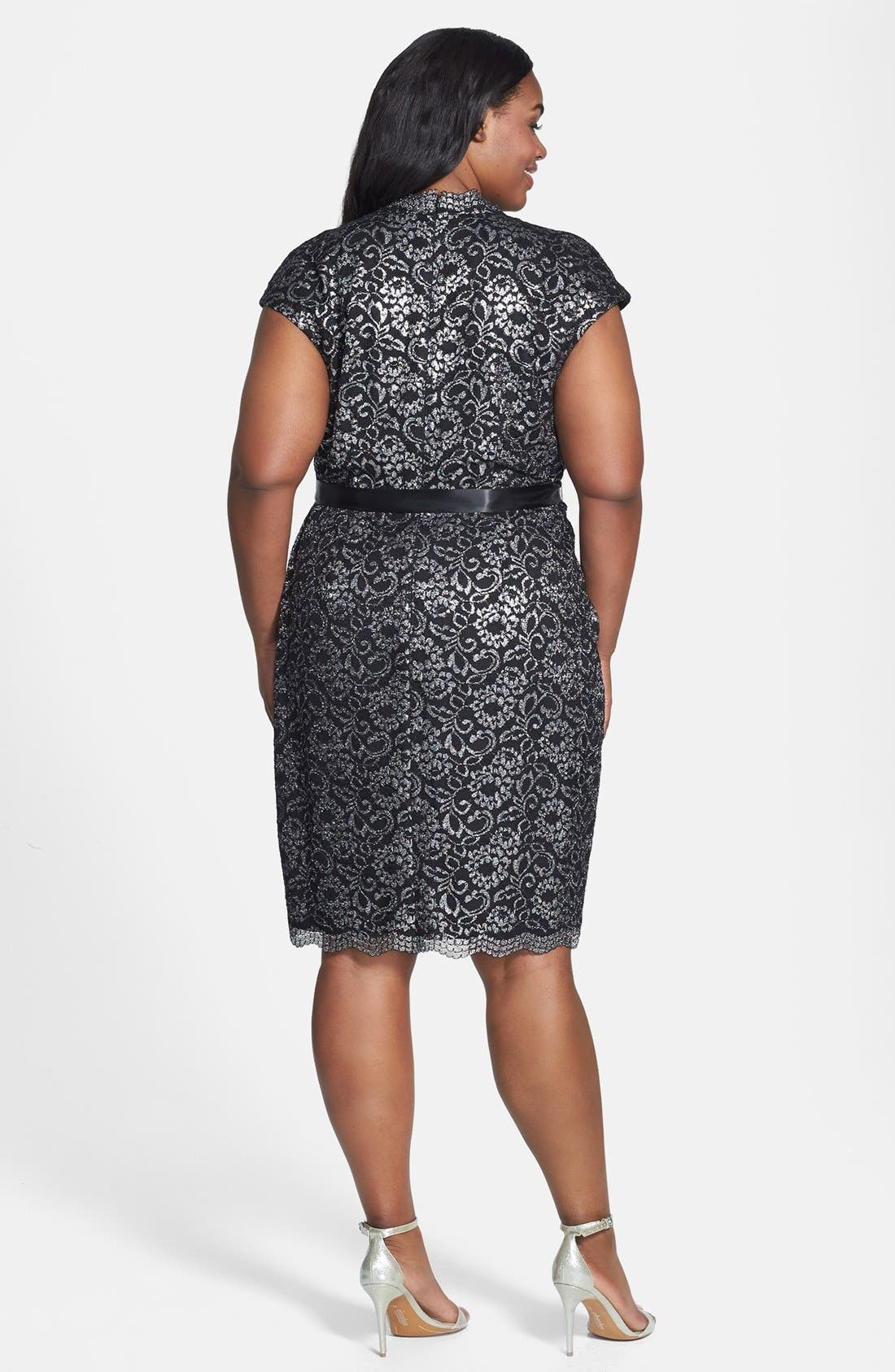 Alternate Image 2  - Alex Evenings Belted Metallic Lace Dress (Plus Size)