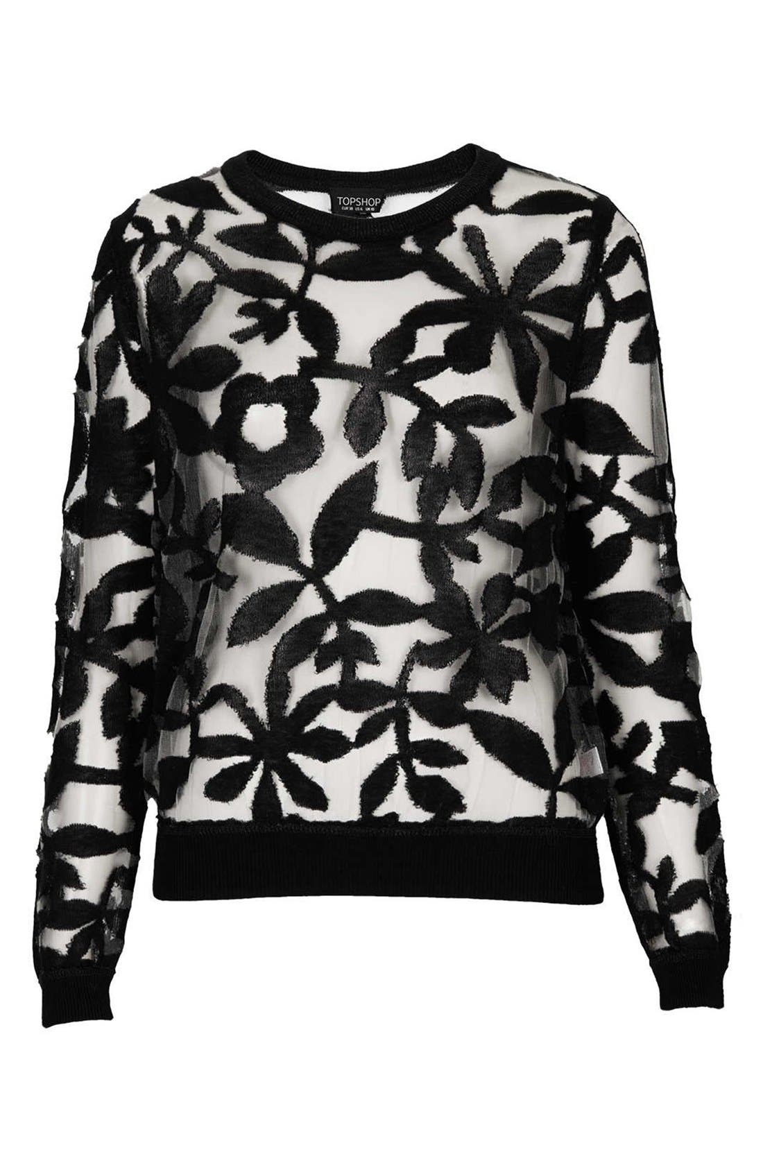 Alternate Image 3  - Topshop Floral Mesh Sweater