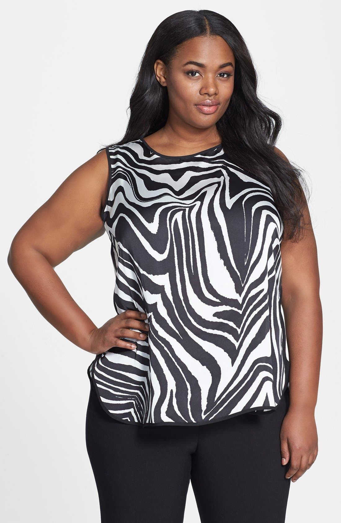 Main Image - Vince Camuto 'Zebra' Sleeveless Shirttail Blouse (Plus Size)