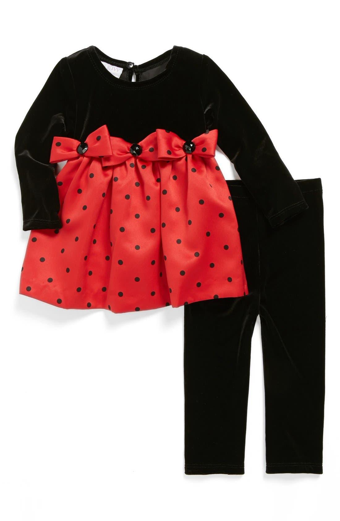 Alternate Image 1 Selected - Iris & Ivy Polka Dot Bow Top & Leggings (Baby Girls)