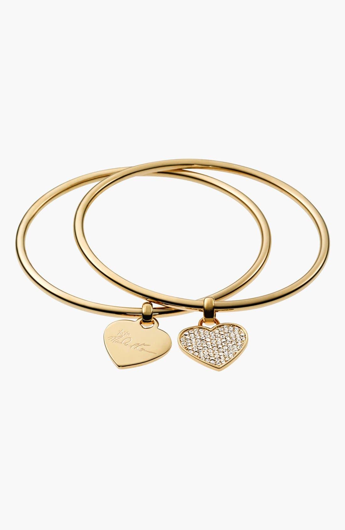 Main Image - Michael Kors Boxed Heart Charm Bangles (Set of 2)