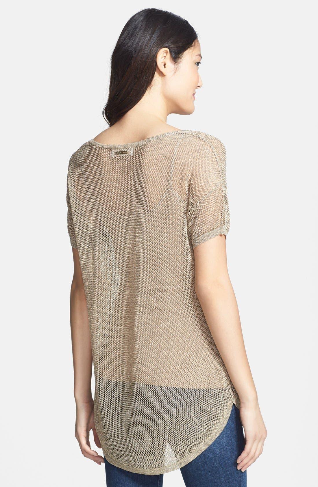 Alternate Image 2  - MICHAEL Michael Kors Metallic Mesh Boxy Sweater (Regular & Petite)
