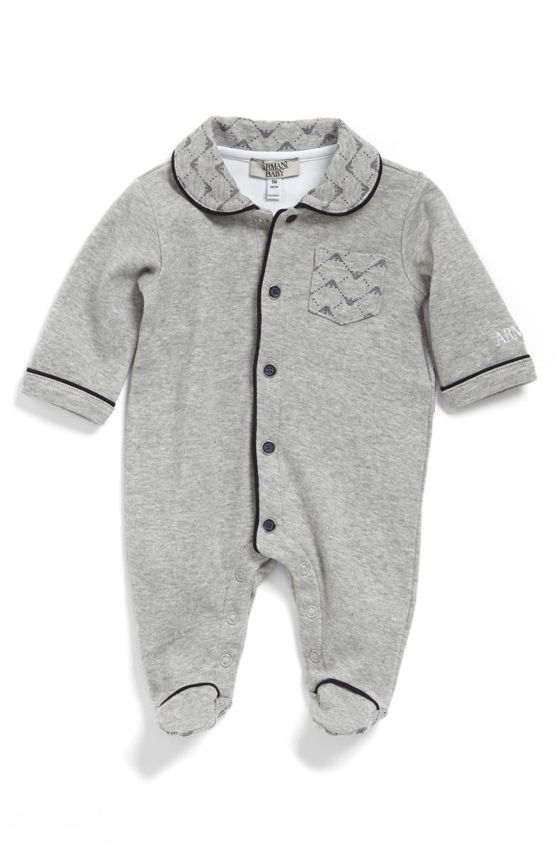 Alternate Image 1 Selected - Armani Junior Logo Collar One-Piece (Baby)