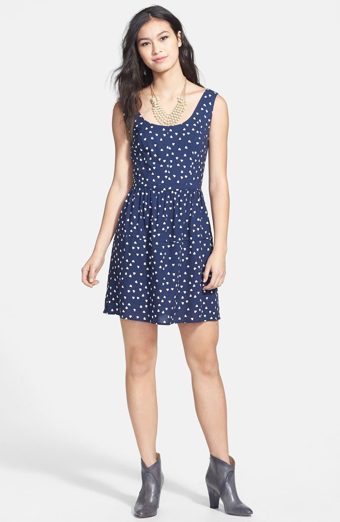 Main Image - BeBop Heart Print Fit & Flare Dress (Juniors)