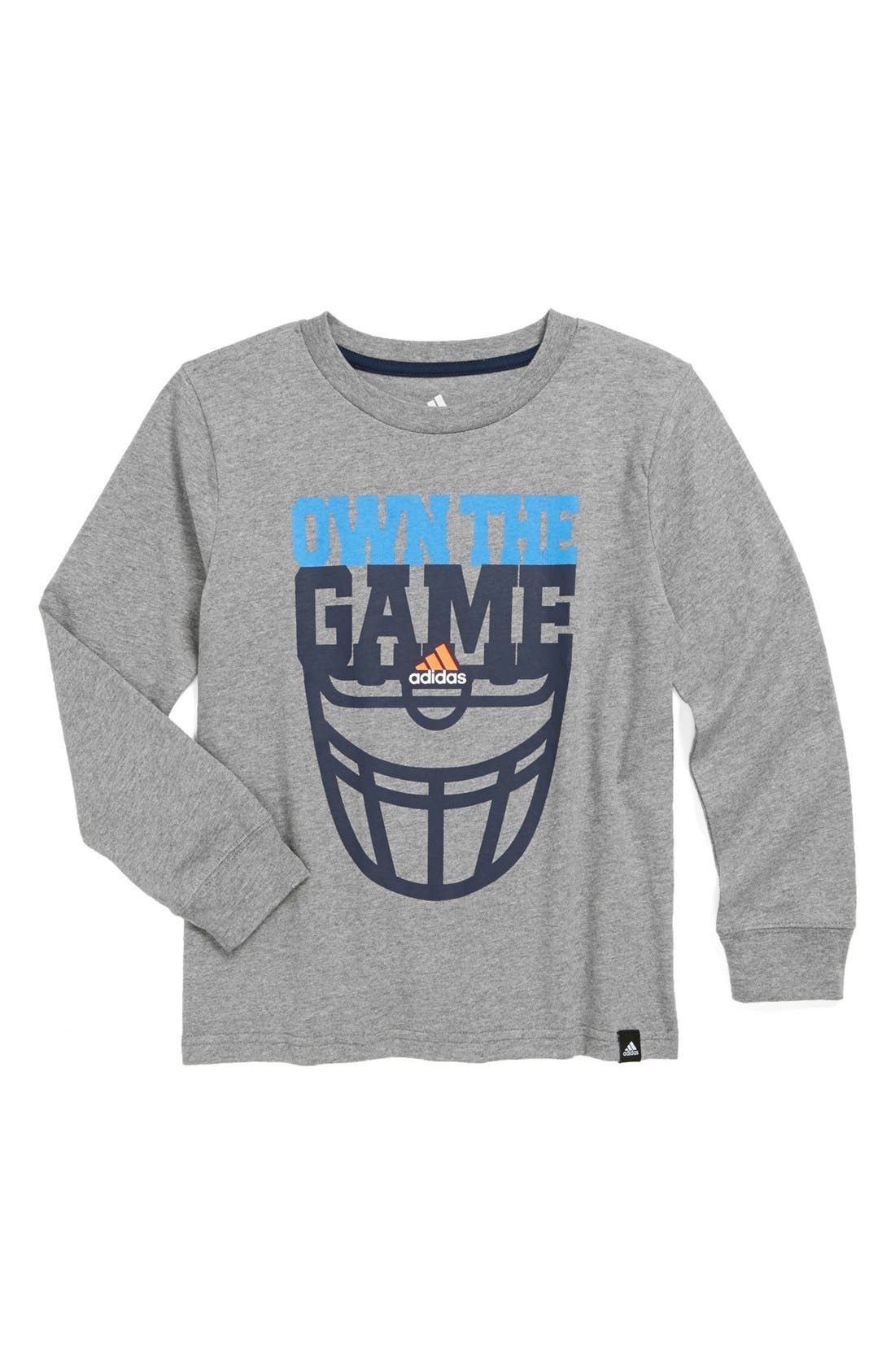 Alternate Image 1 Selected - adidas 'Own the Game' Long Sleeve Shirt (Little Boys)