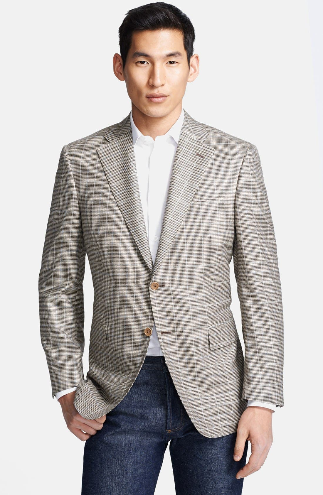 Alternate Image 1 Selected - Canali Classic Fit Silk Blend Plaid Sportcoat