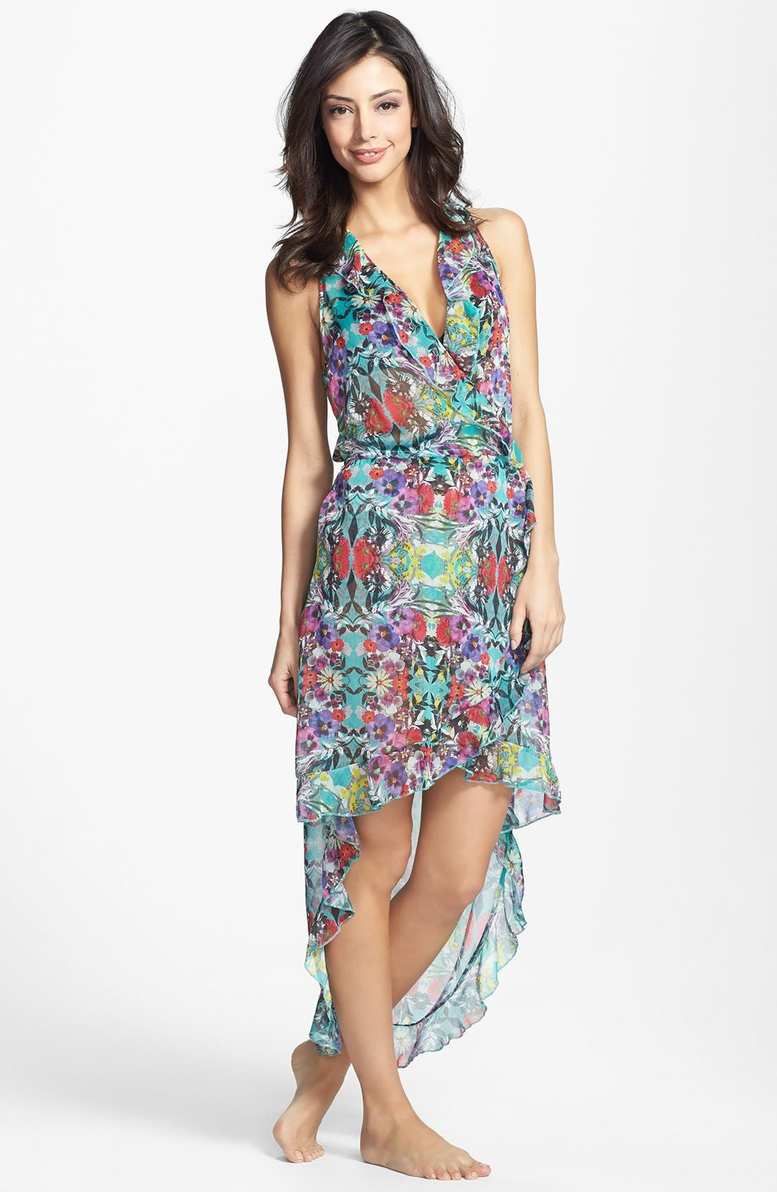 Alternate Image 1 Selected - Red Carter 'Floriculture' Ruffle Cover-Up Wrap Dress