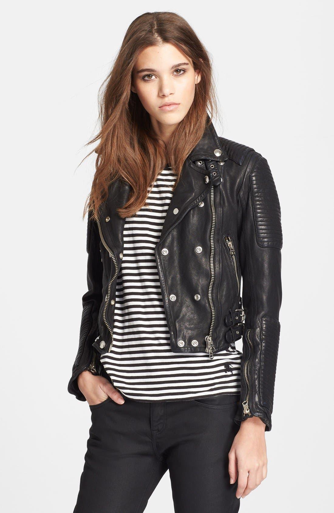 Alternate Image 1 Selected - Burberry Brit 'Losley' Leather Moto Jacket