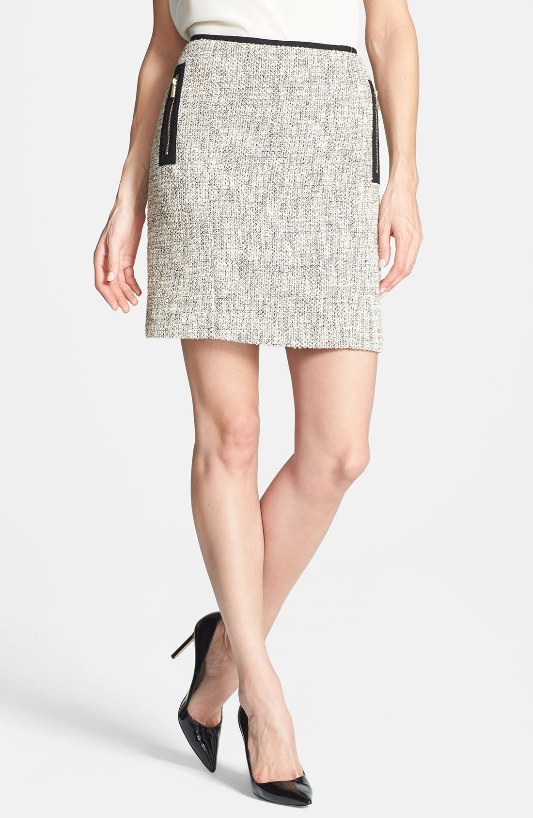 Main Image - Vince Camuto Zip Pocket Tweed Miniskirt