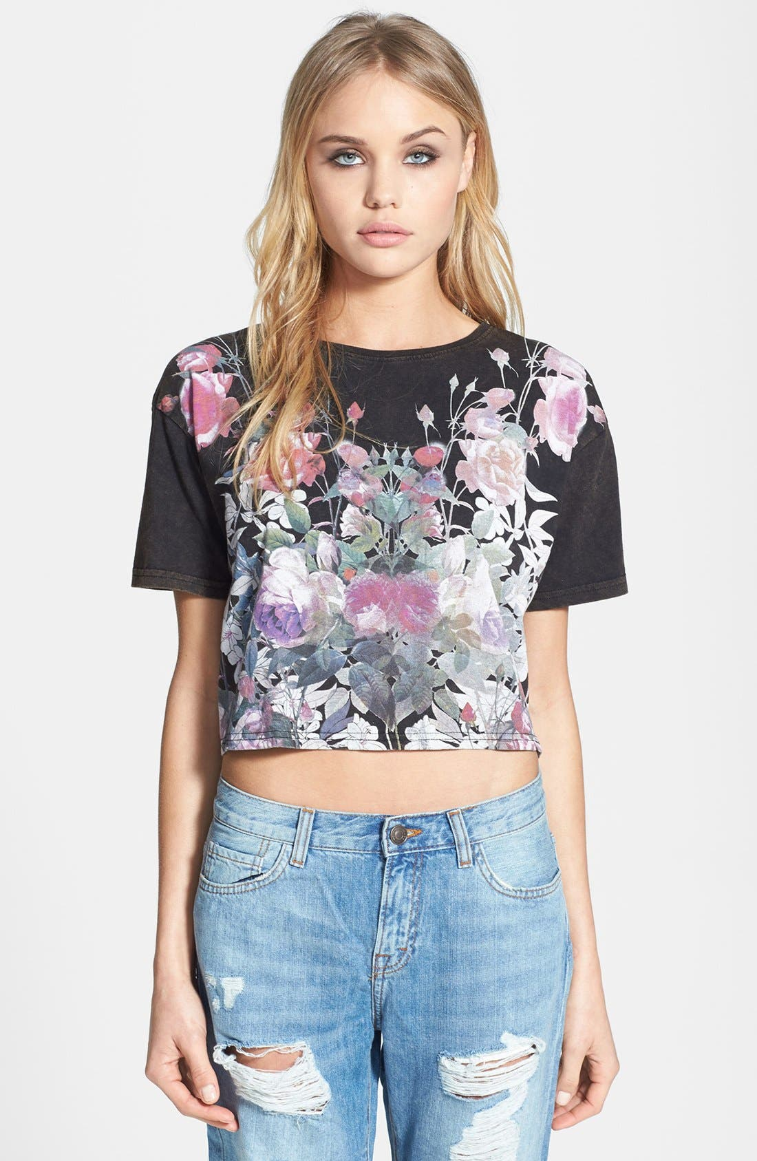 Alternate Image 1 Selected - Topshop Dark Floral Crop Tee