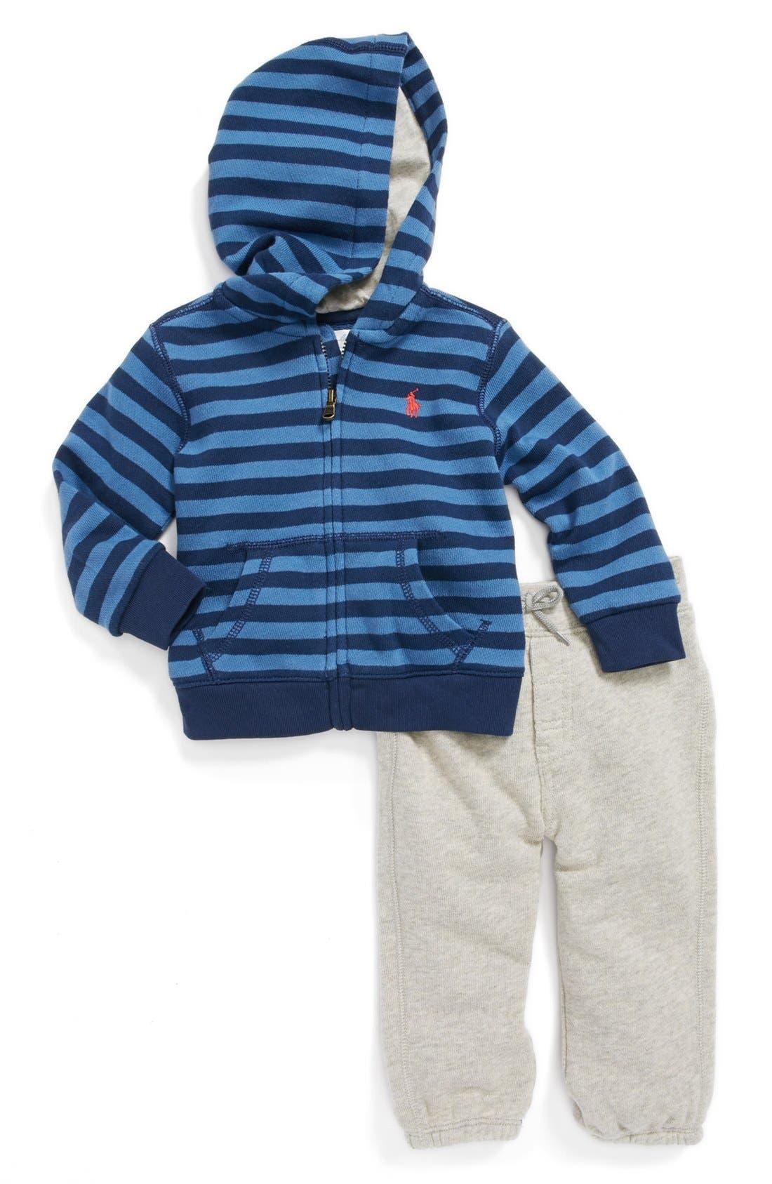 Alternate Image 1 Selected - Ralph Lauren Stripe Hoodie & Sweatpants (Baby Boys)