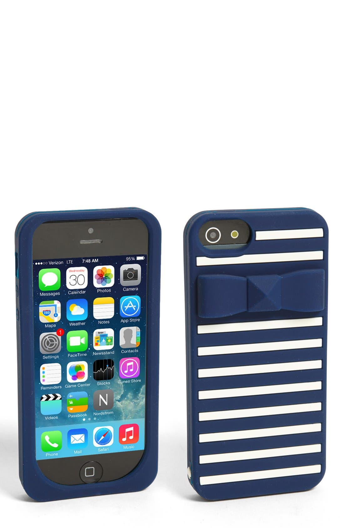 Alternate Image 1 Selected - kate spade new york 'stud bow stripe' iPhone 5 & 5s case
