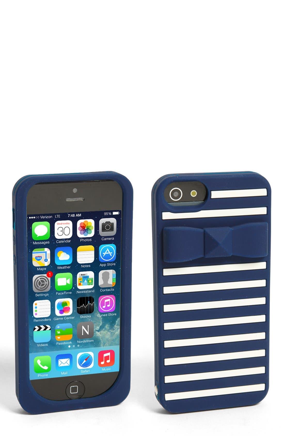 Main Image - kate spade new york 'stud bow stripe' iPhone 5 & 5s case