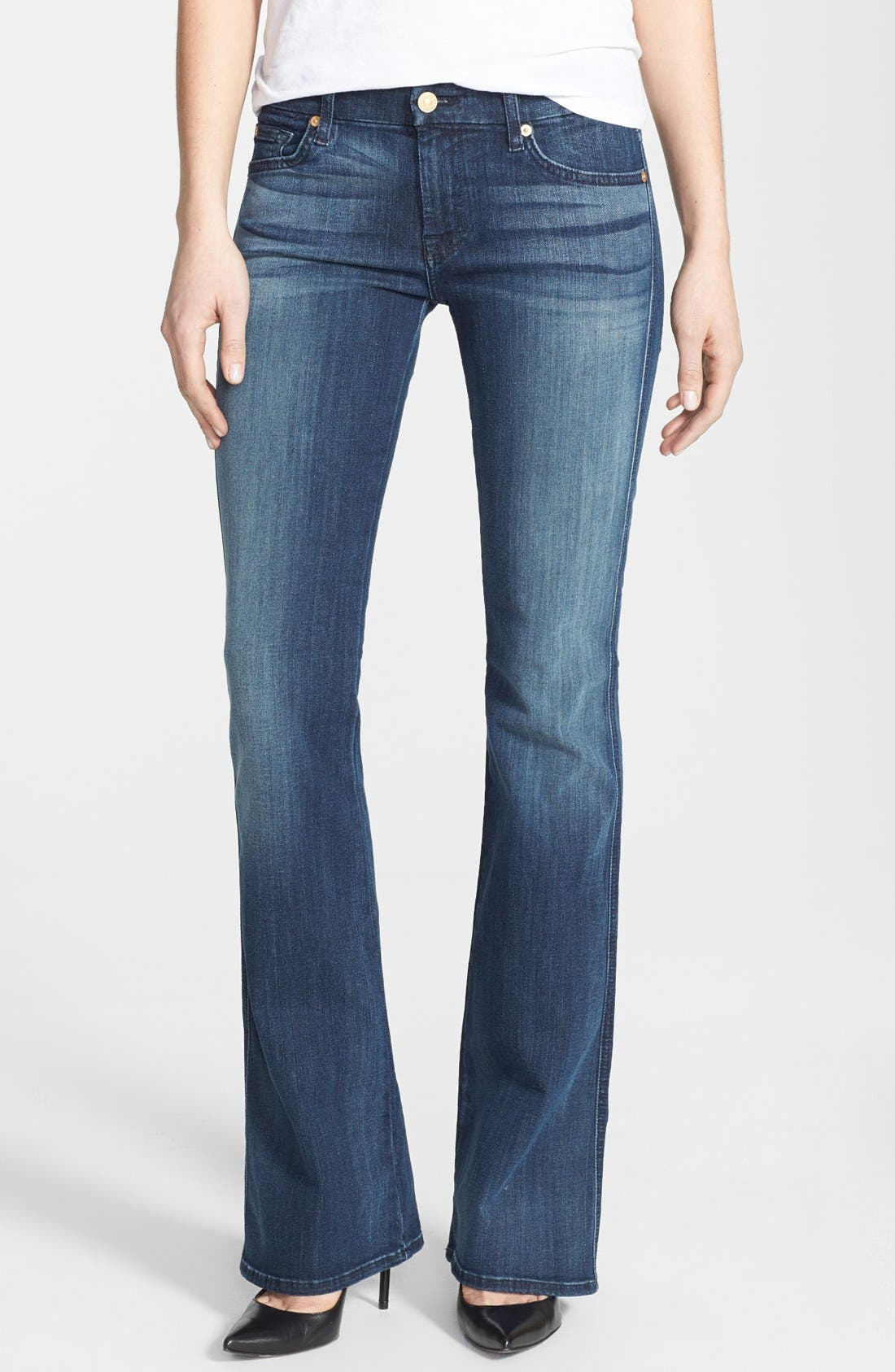 Alternate Image 1 Selected - 7 For All Mankind® 'A-Pocket' Bootcut Jeans (Dark Destroy)
