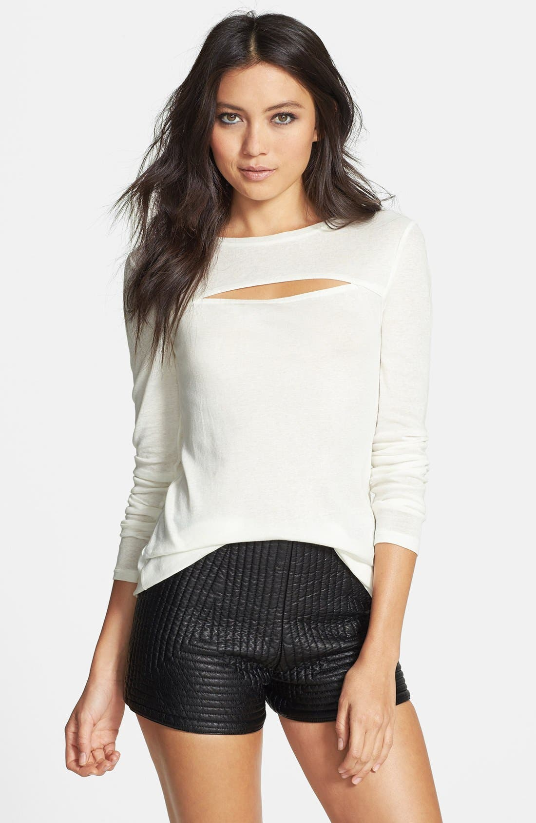 Main Image - Leith Slit Cutout Sheer Cotton Tee