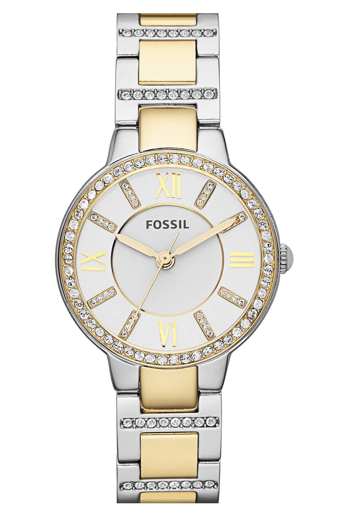 Main Image - Fossil 'Virginia' Crystal Bezel Bracelet Watch, 34mm