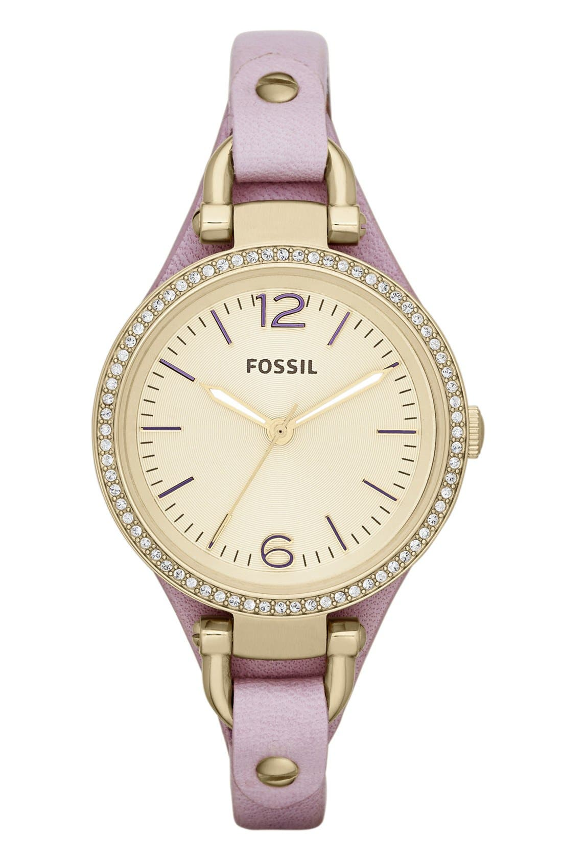 Alternate Image 1 Selected - Fossil 'Georgia' Crystal Bezel Leather Strap Watch, 32mm