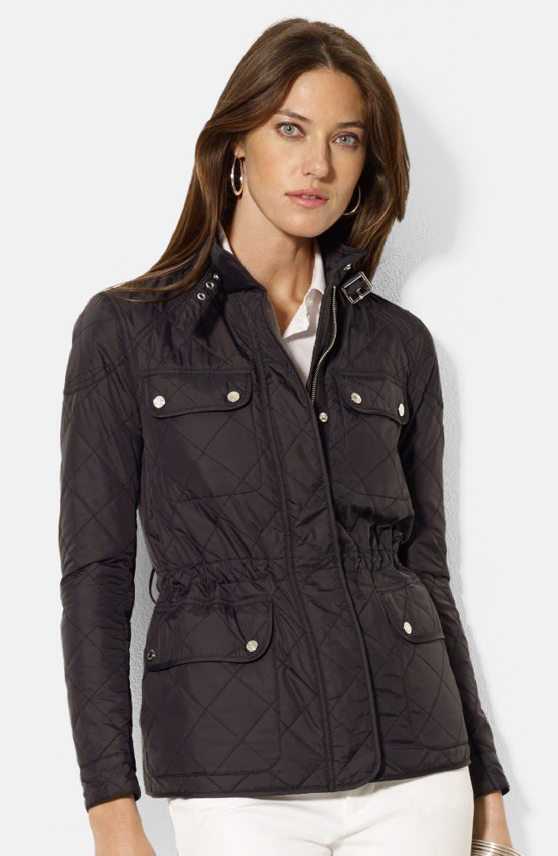Alternate Image 1 Selected - Lauren Ralph Lauren Four-Pocket Belted Quilted Jacket (Regular & Petite)