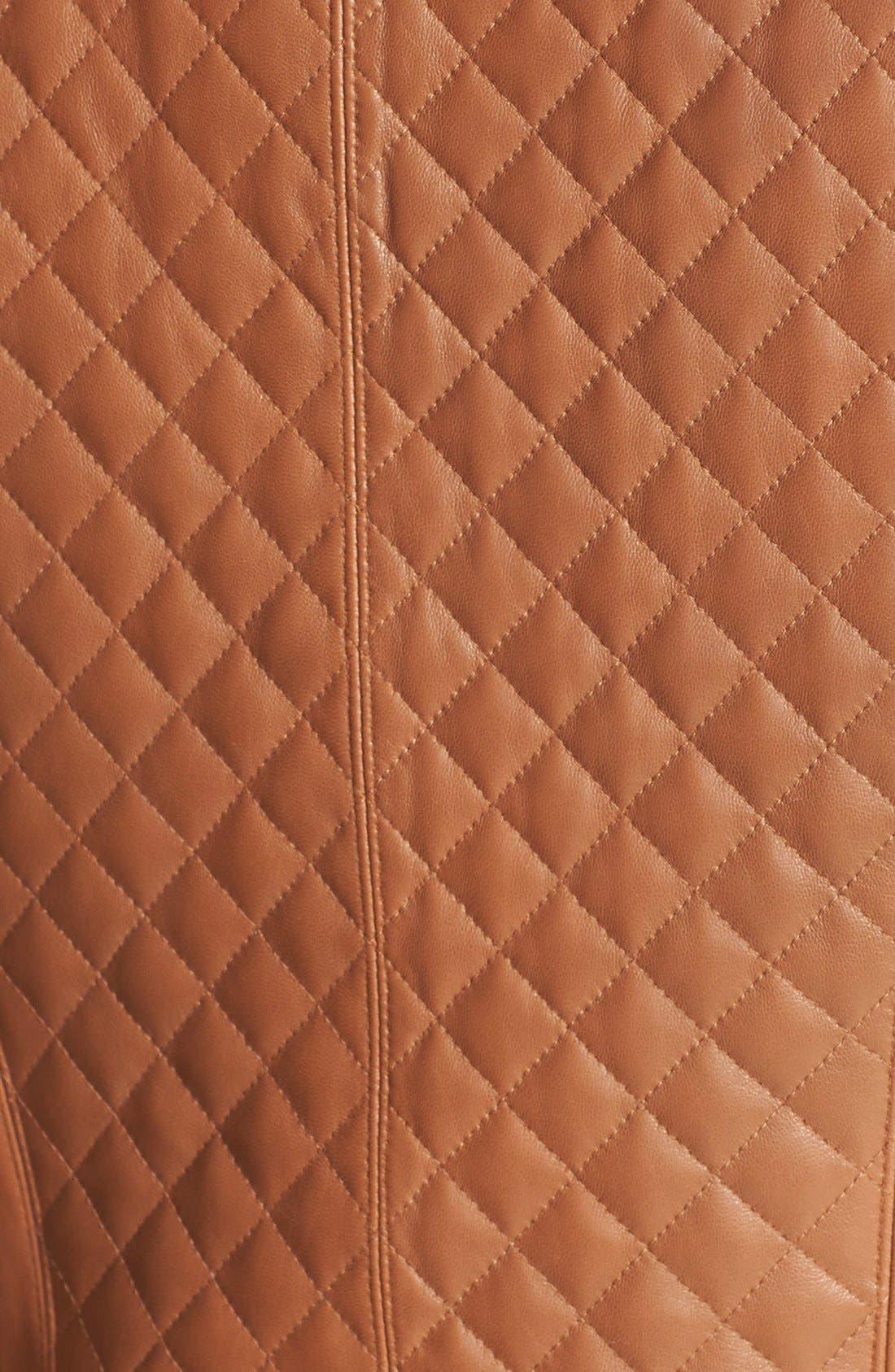 Alternate Image 3  - Calvin Klein Quilt Detail Asymmetrical Leather Moto Jacket (Online Only)