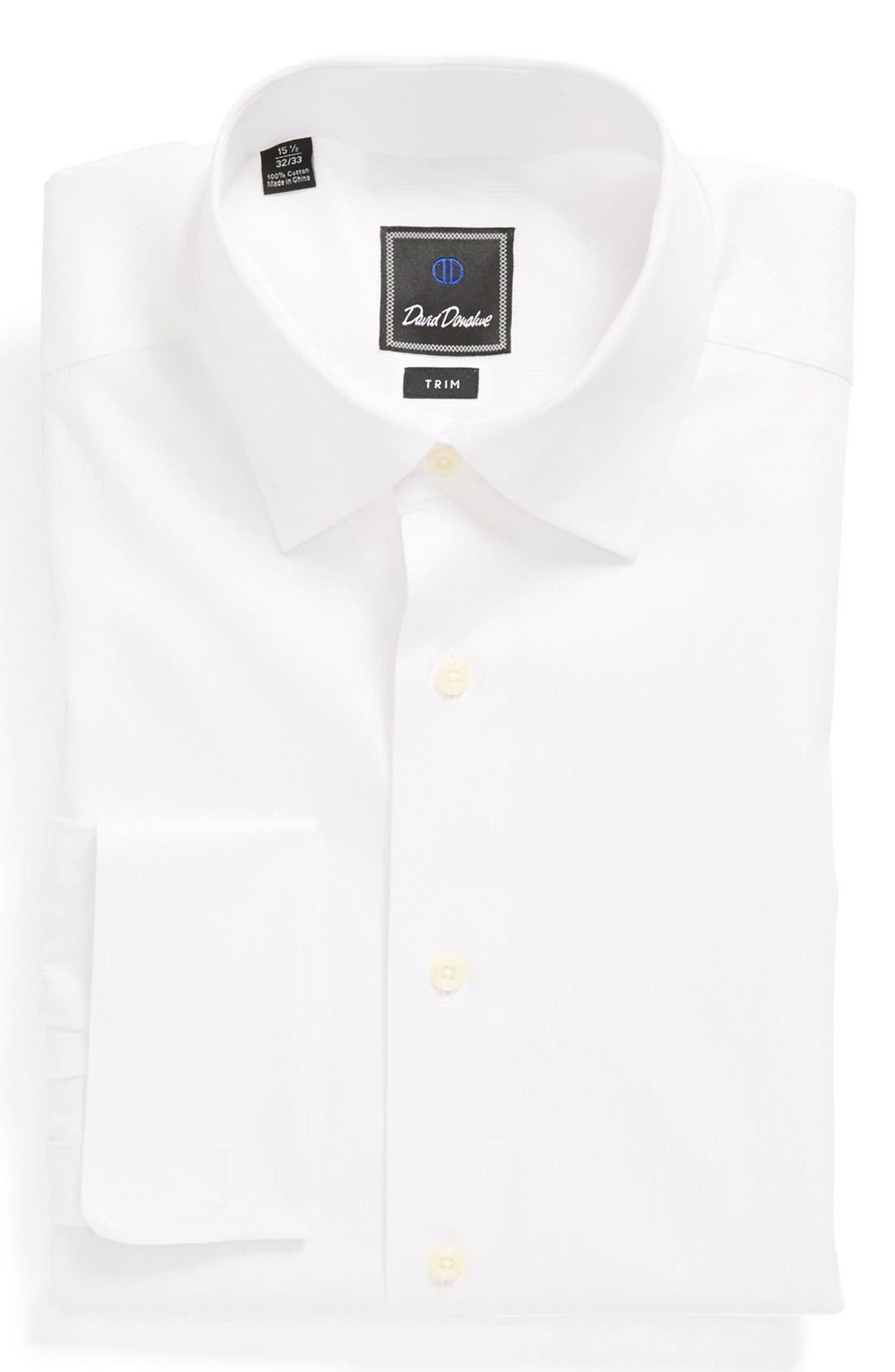 Main Image - David Donahue French Cuff Trim Fit Dress Shirt