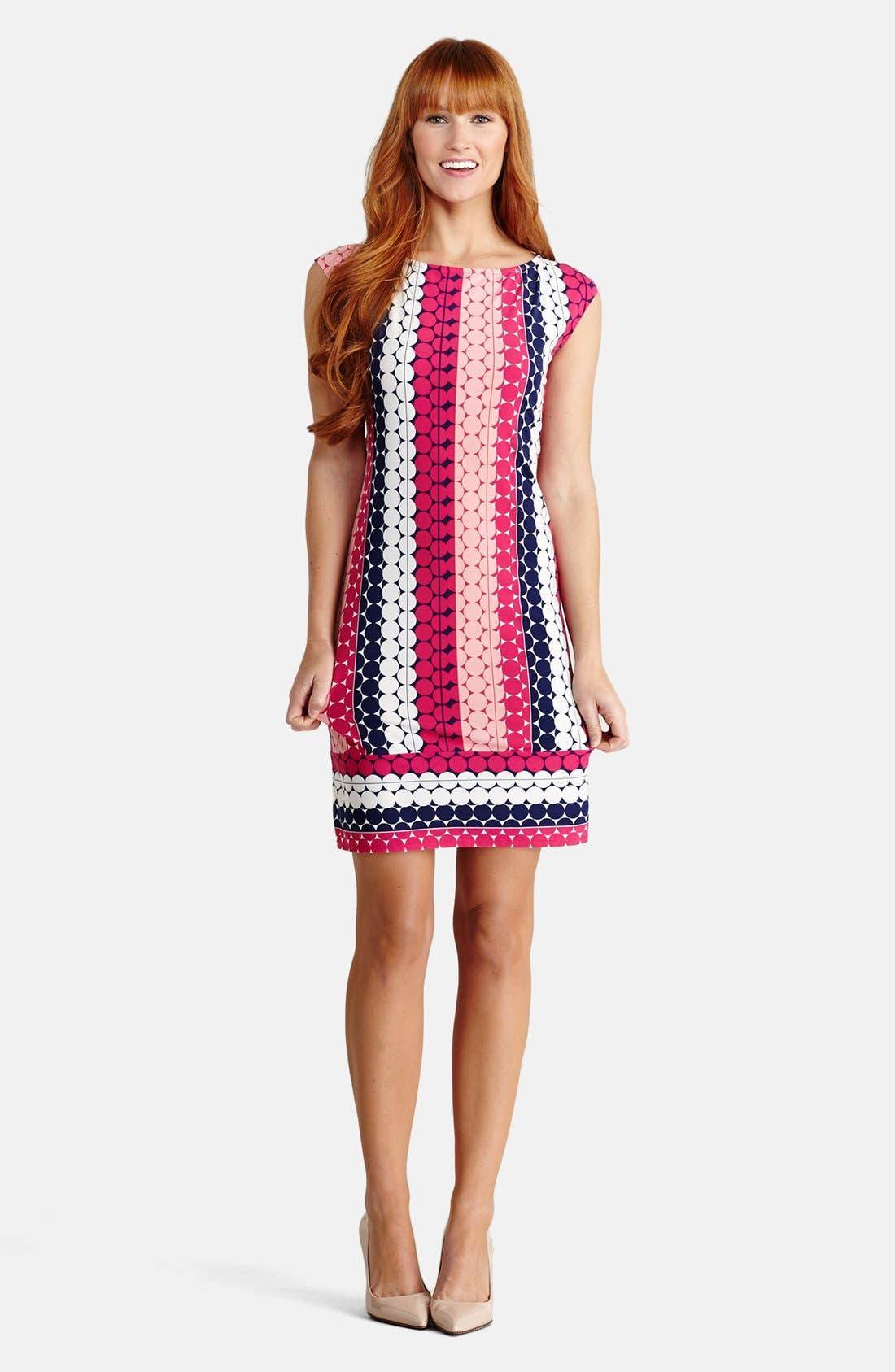 Main Image - Donna Morgan Print Cap Sleeve Jersey Shift Dress