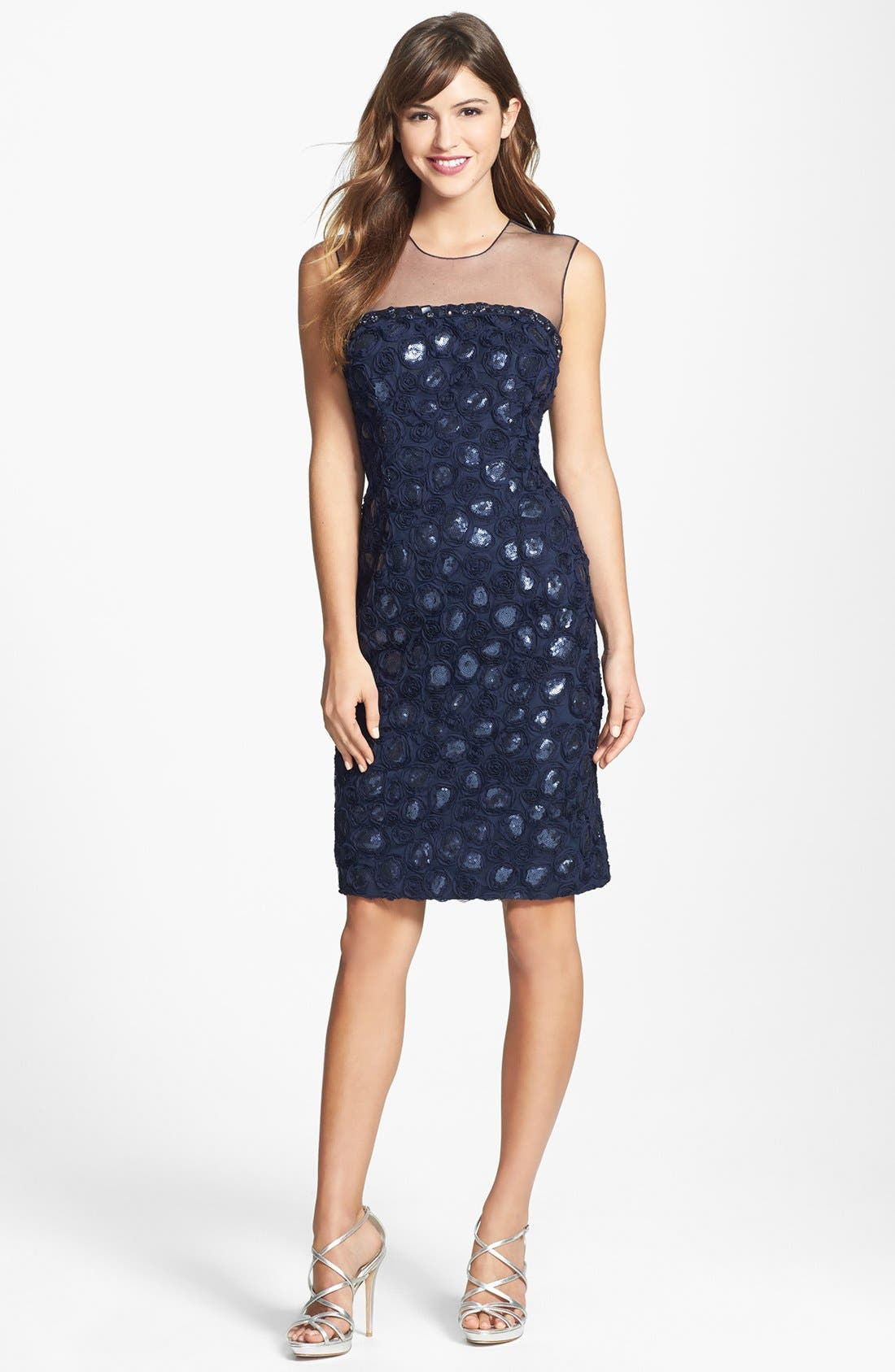 Main Image - Mikael Aghal Embroidered Embellished Tulle Sheath Dress