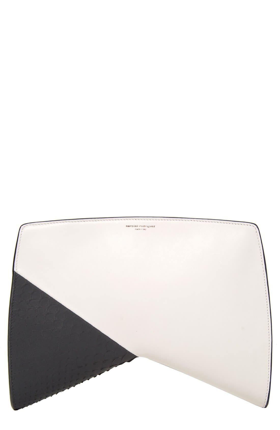 Alternate Image 1 Selected - Narciso Rodriguez 'Boomerang' Genuine Python & Leather Clutch