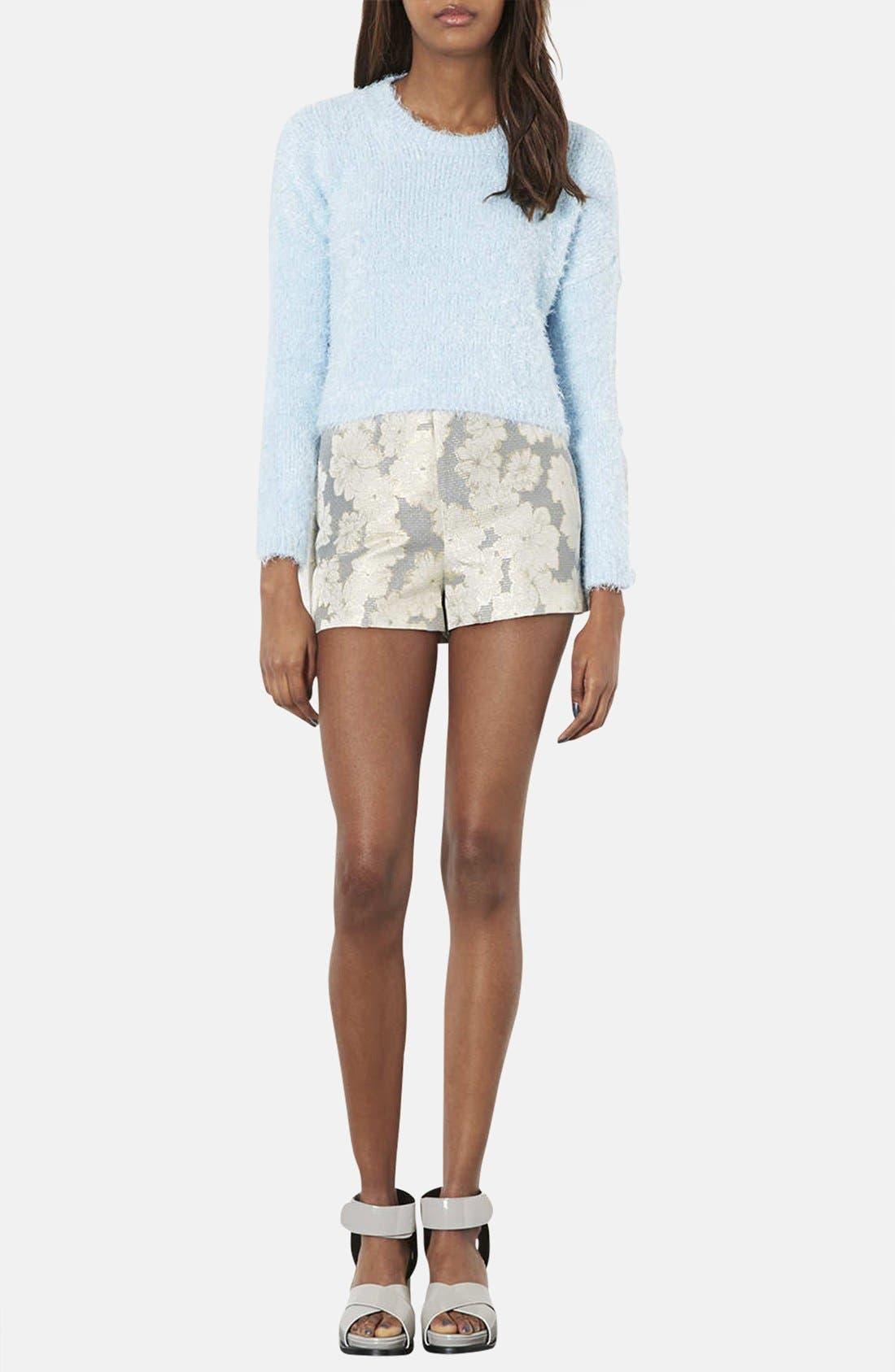 Alternate Image 4  - Topshop Metallic Floral Jacquard High Rise Shorts