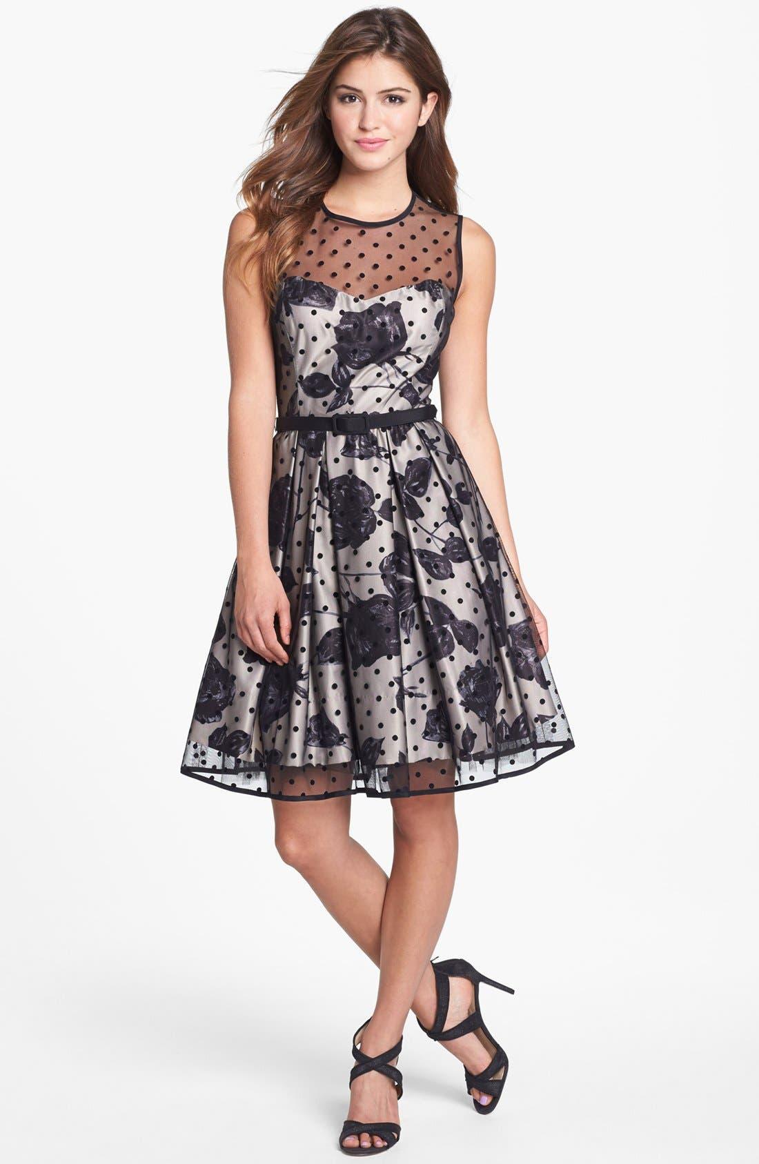 Alternate Image 1 Selected - Eliza J Flocked Dot Illusion Dress (Petite)