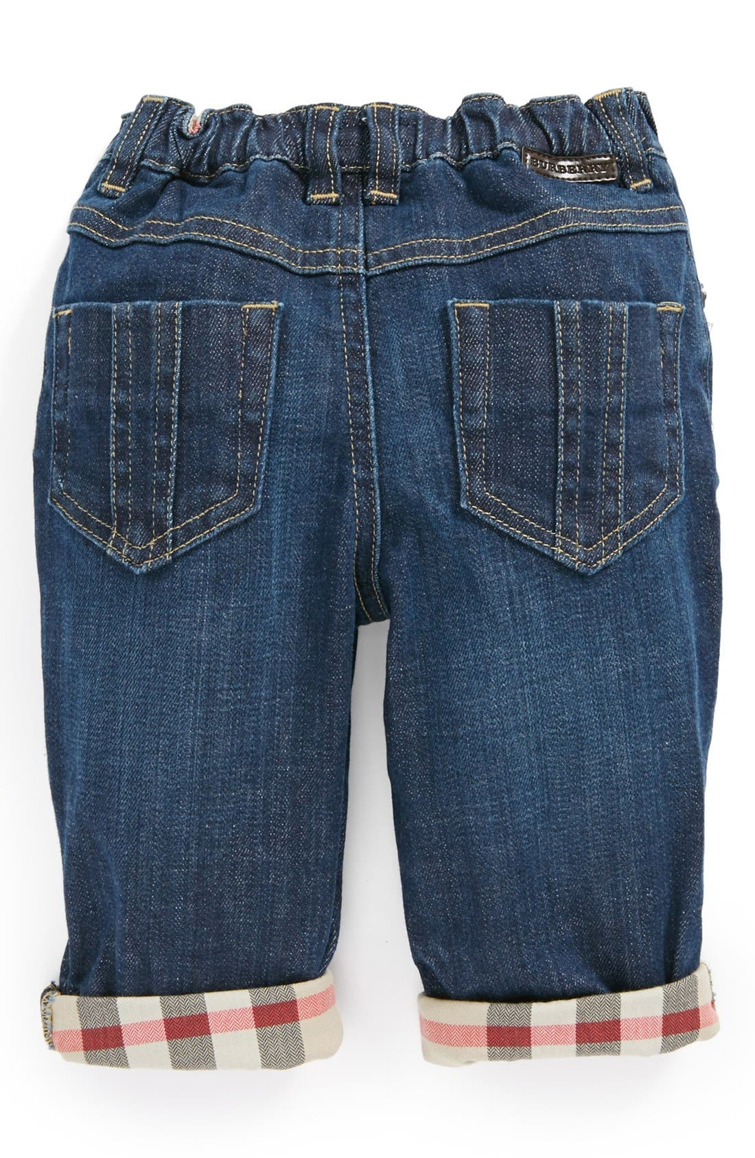 Alternate Image 2  - Burberry Check Lined Jeans (Baby Boys)