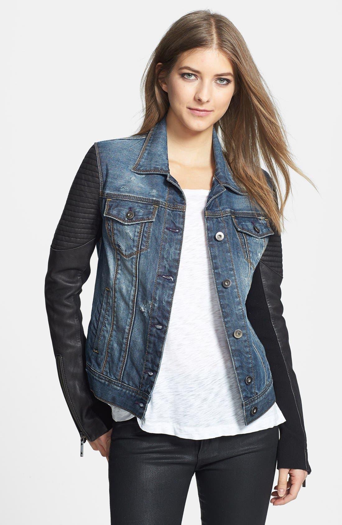 Main Image - BCBGMAXAZRIA 'Nikki' Faux Leather Sleeve Denim Jacket