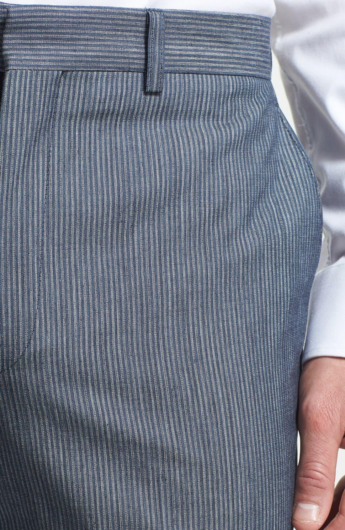 Alternate Image 3  - Linea Naturale Trim Fit Flat Front Cotton Trousers (Nordstrom Exclusive)