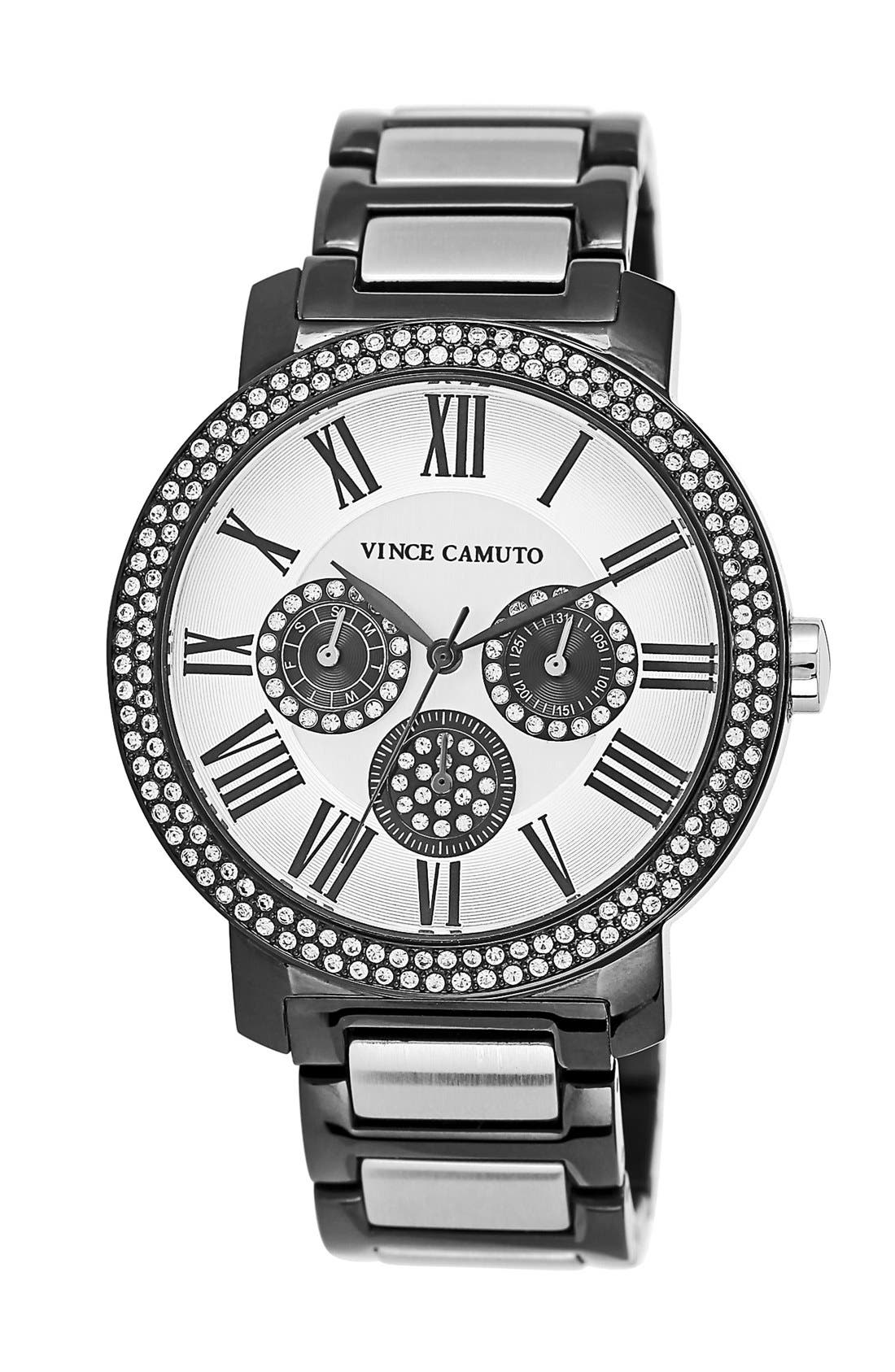 Main Image - Vince Camuto Crystal Accent Multifunction Bracelet Watch, 41mm