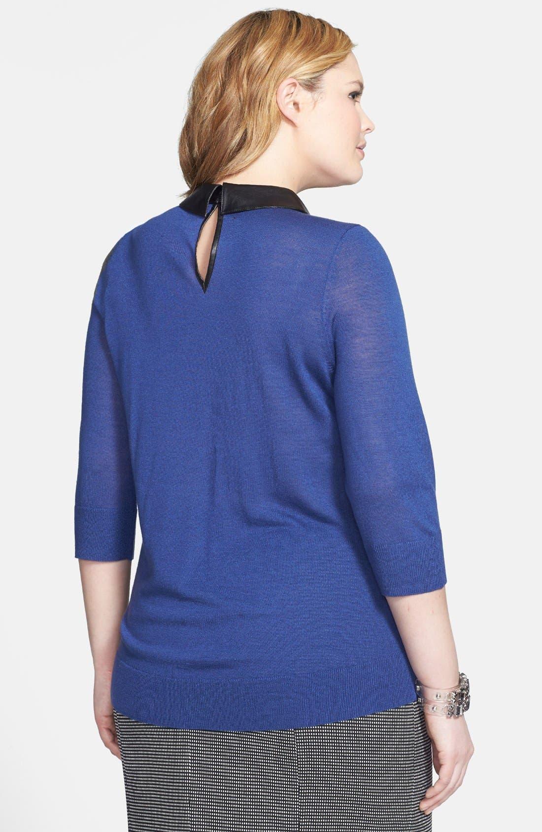 Alternate Image 3  - Sejour Faux Leather Collar Sweater (Plus Size)