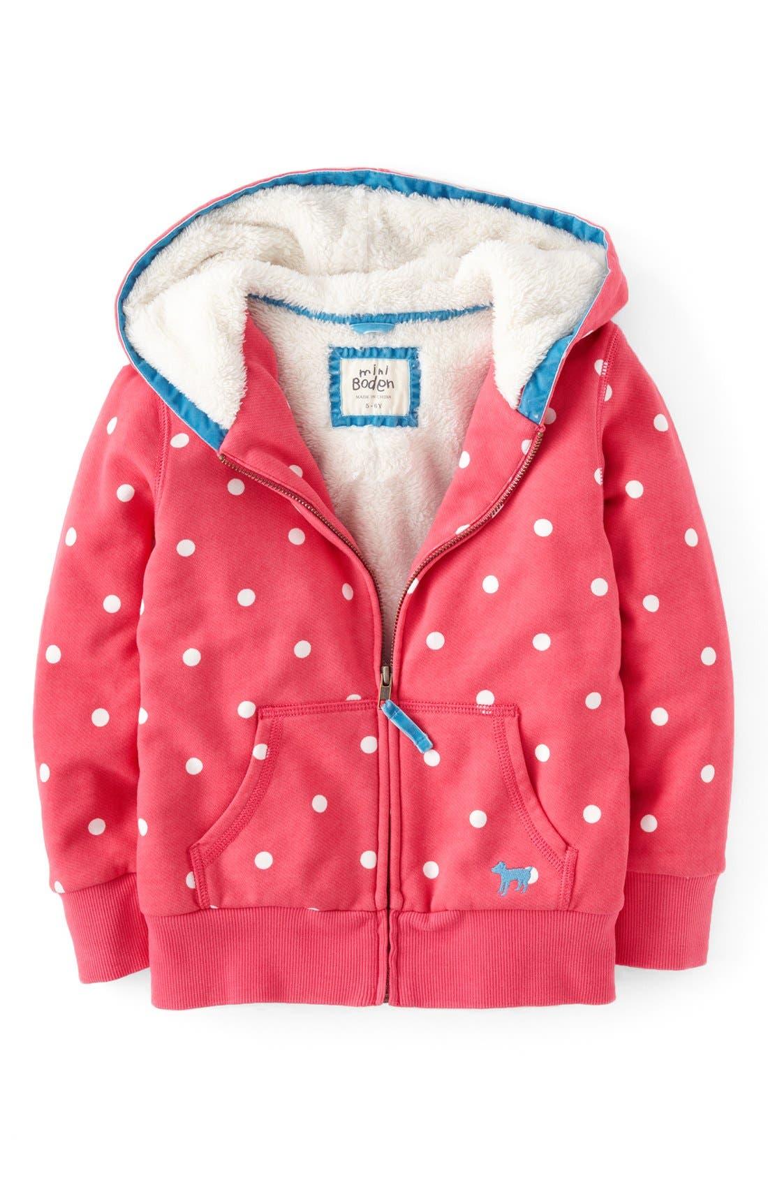 Alternate Image 1 Selected - Mini Boden 'Shaggy' Lined Jacket (Toddler Girls, Little Girls & Big Girls)