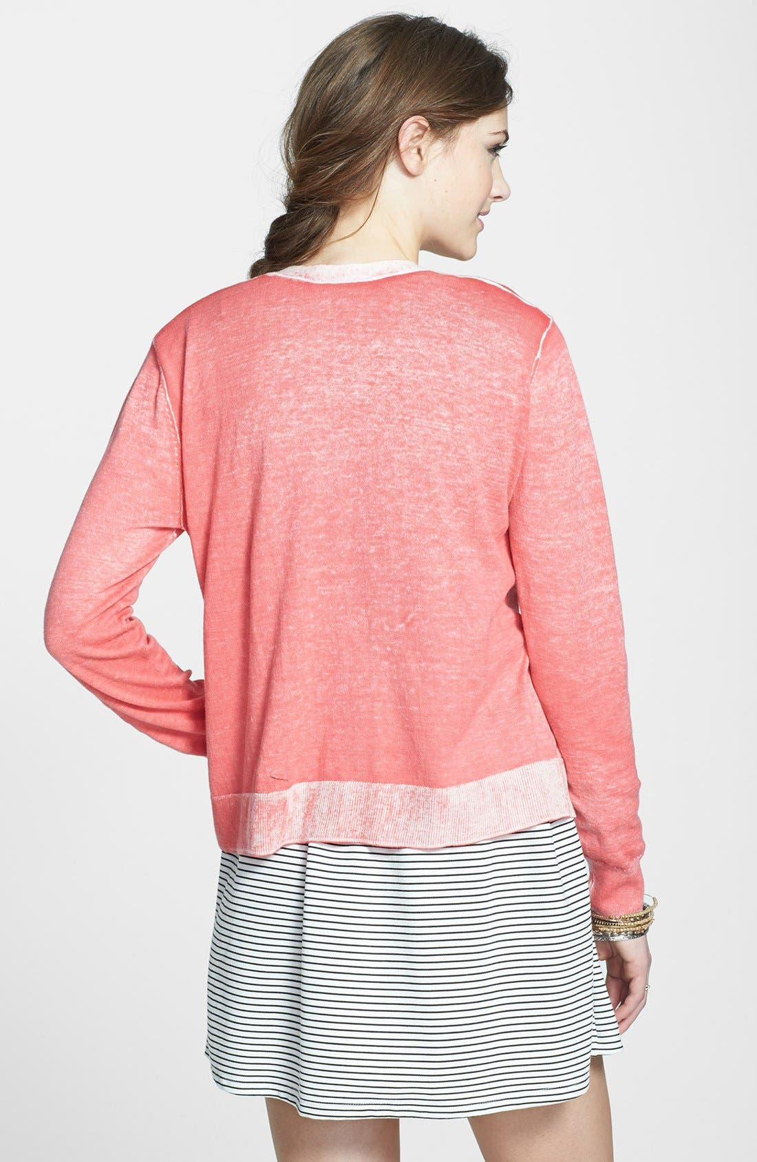 Alternate Image 2  - Rubbish® 'Bleached Look' Cotton Cardigan (Juniors)