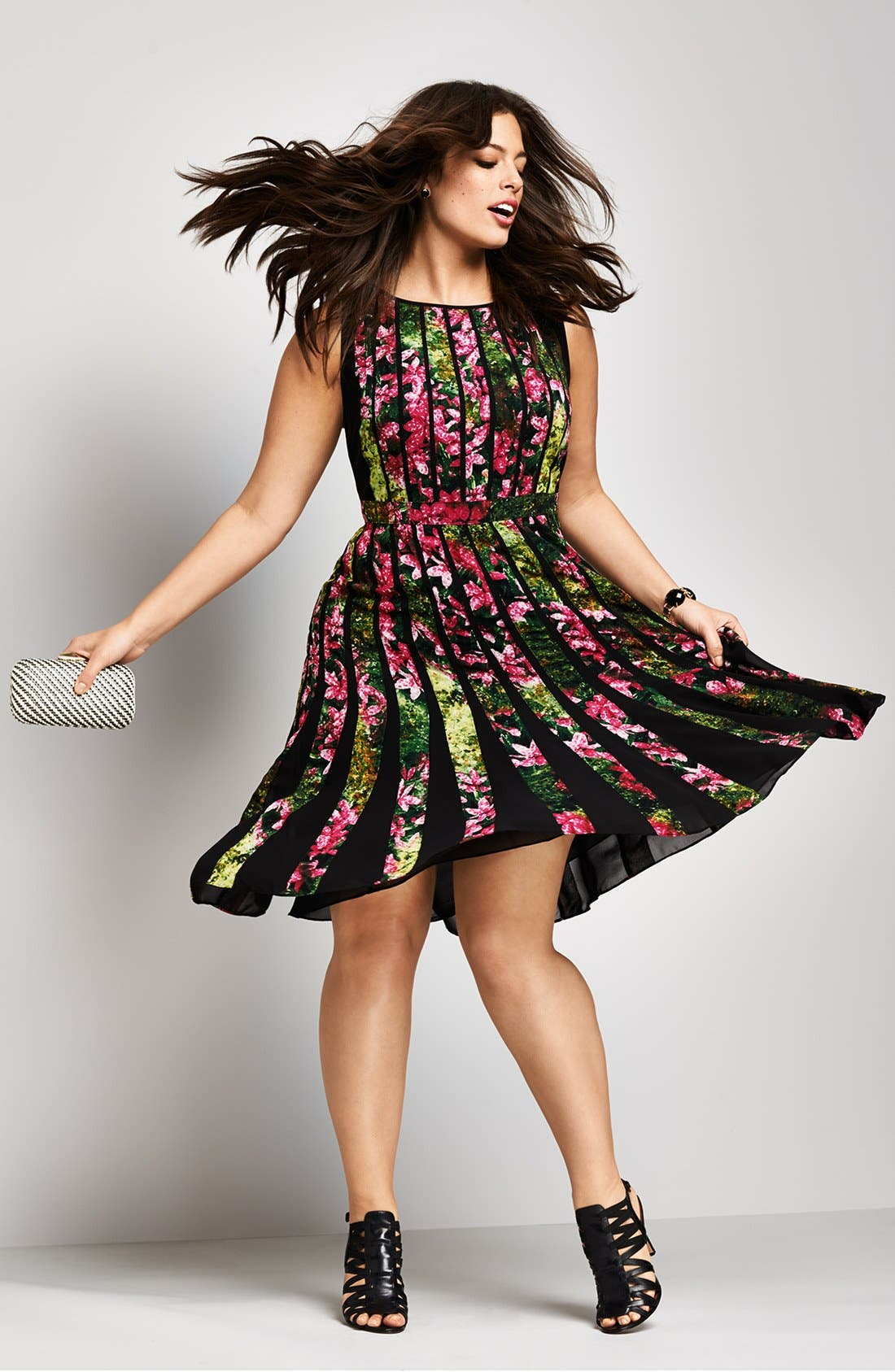 Alternate Image 4  - Adrianna Papell Floral Pleated Dress (Plus Size)