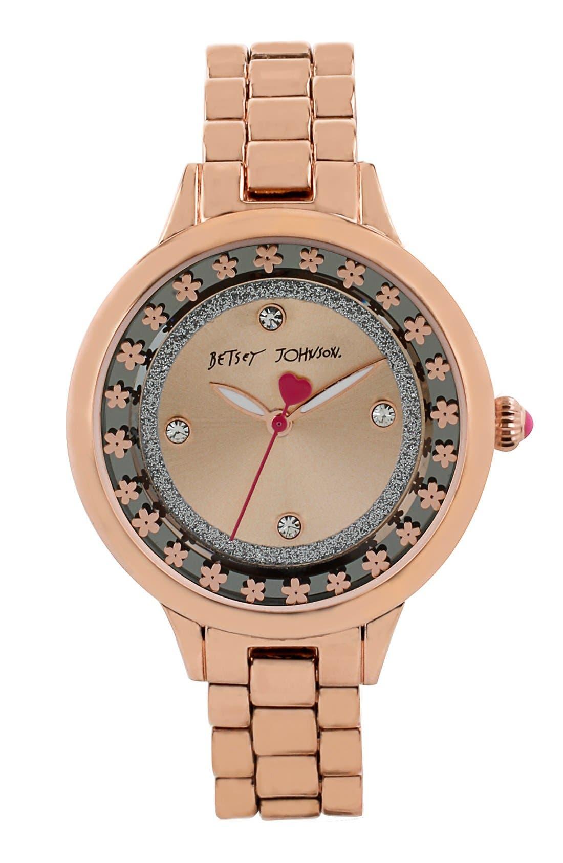 Main Image - Betsey Johnson Floral Cutout Bracelet Watch, 38mm