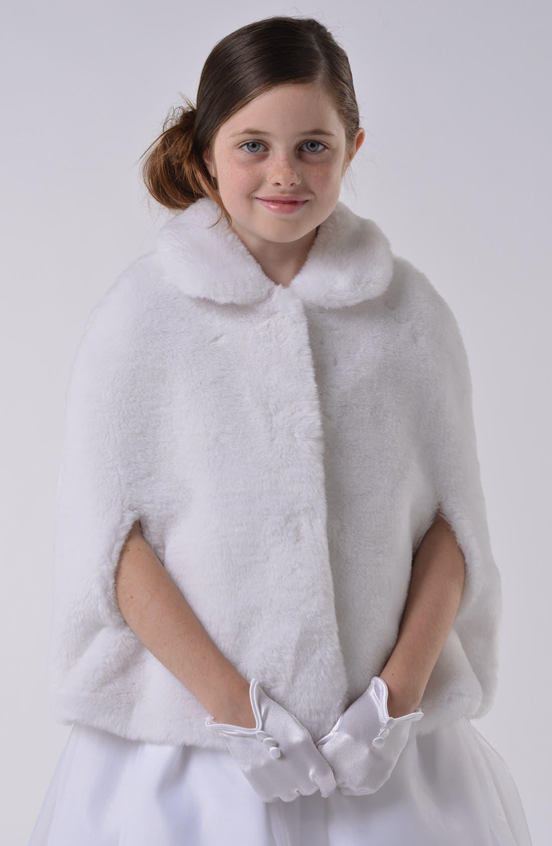 Alternate Image 1 Selected - Us Angels Communion Faux Fur Cape (Little Girls & Big Girls)