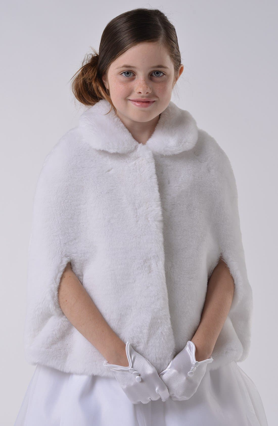 Main Image - Us Angels Communion Faux Fur Cape (Little Girls & Big Girls)