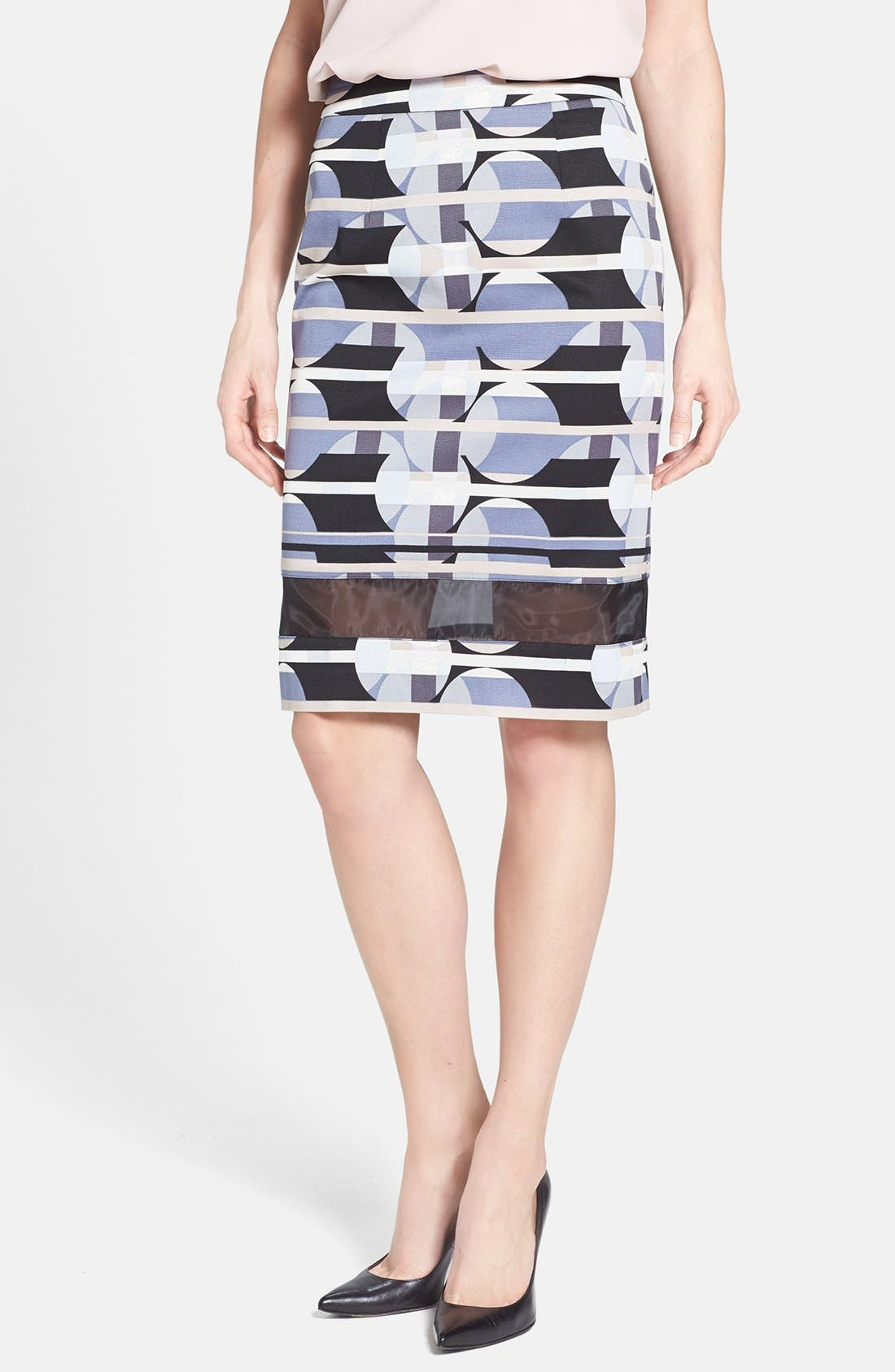 Main Image - Halogen® Sheer Inset Print Skirt