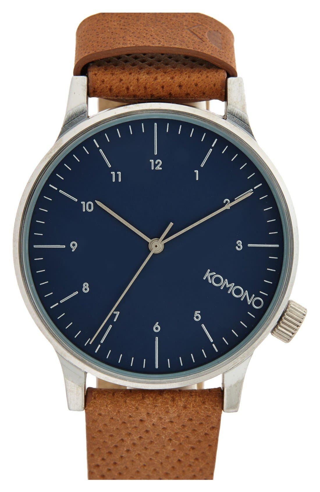 KOMONO 'Winston' Round Dial Leather Strap Watch, 41mm