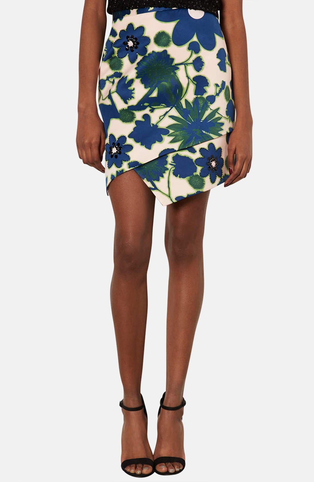 Alternate Image 1 Selected - Topshop 'Floral X-Ray' Embellished Print Skirt