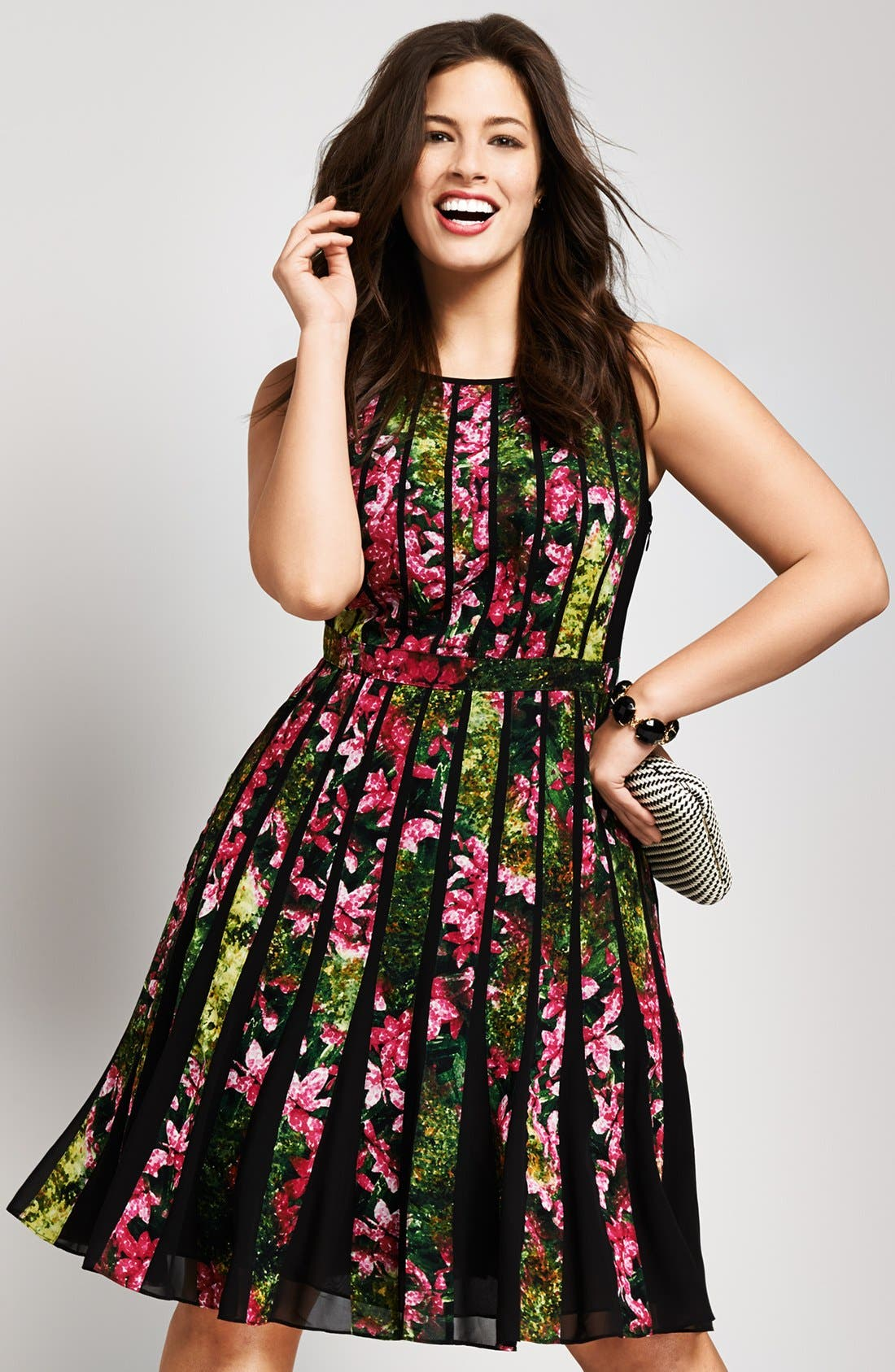 Alternate Image 5  - Adrianna Papell Floral Pleated Dress (Plus Size)
