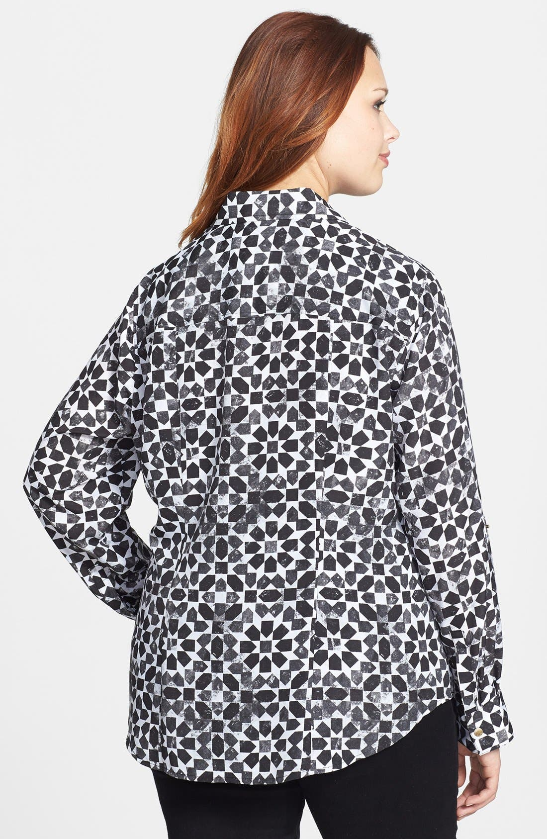 Alternate Image 2  - MICHAEL Michael Kors Print Campshirt (Plus Size)