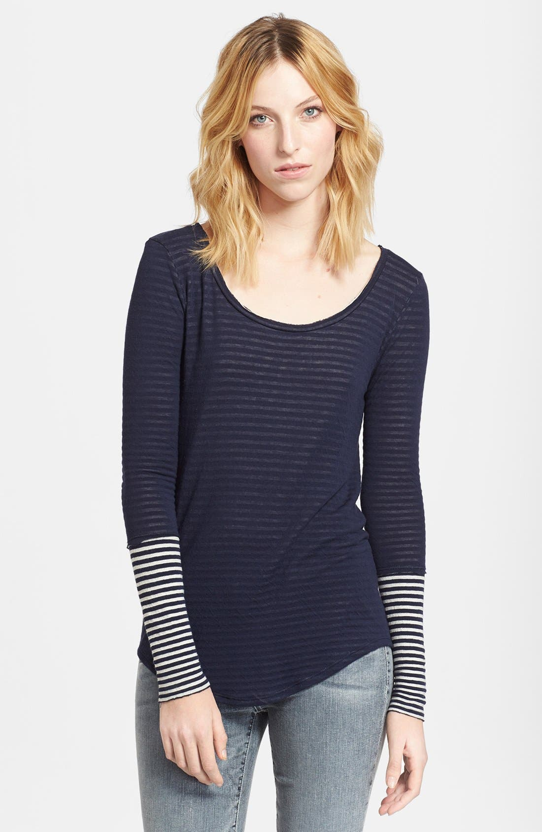 Alternate Image 1 Selected - Whetherly 'Rosewood' Stripe Double Knit Jersey Top