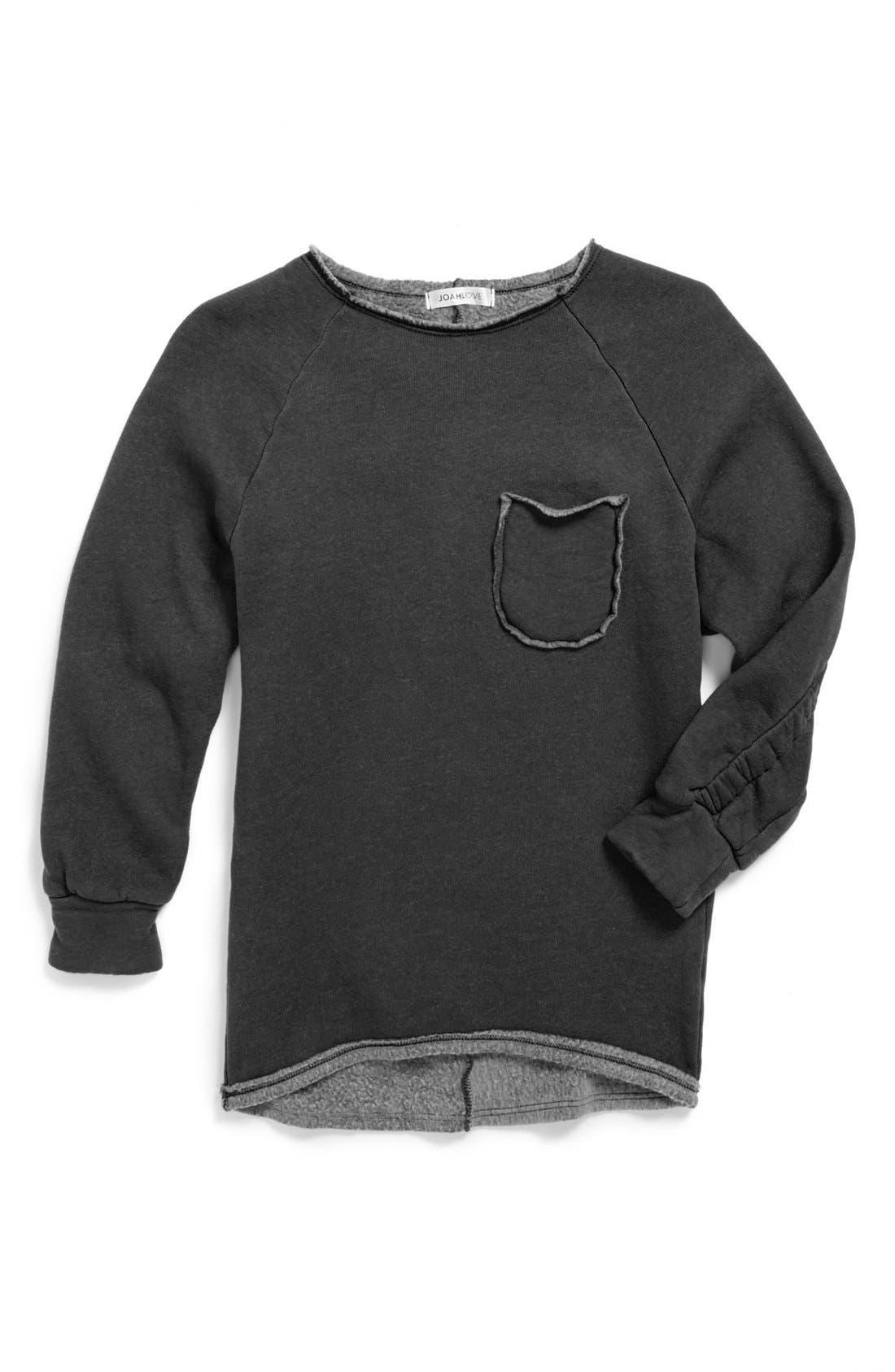 Alternate Image 1 Selected - Joah Love Pocket Sweatshirt (Little Girls & Big Girls)
