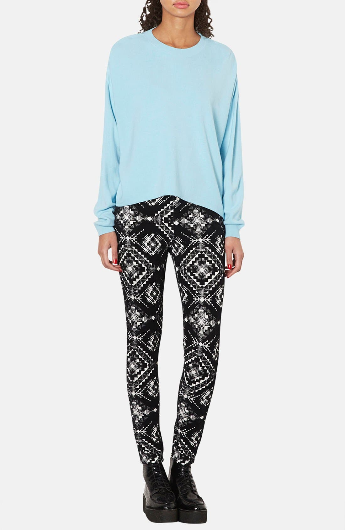 Alternate Image 4  - Topshop Flocked Folk Print Leggings