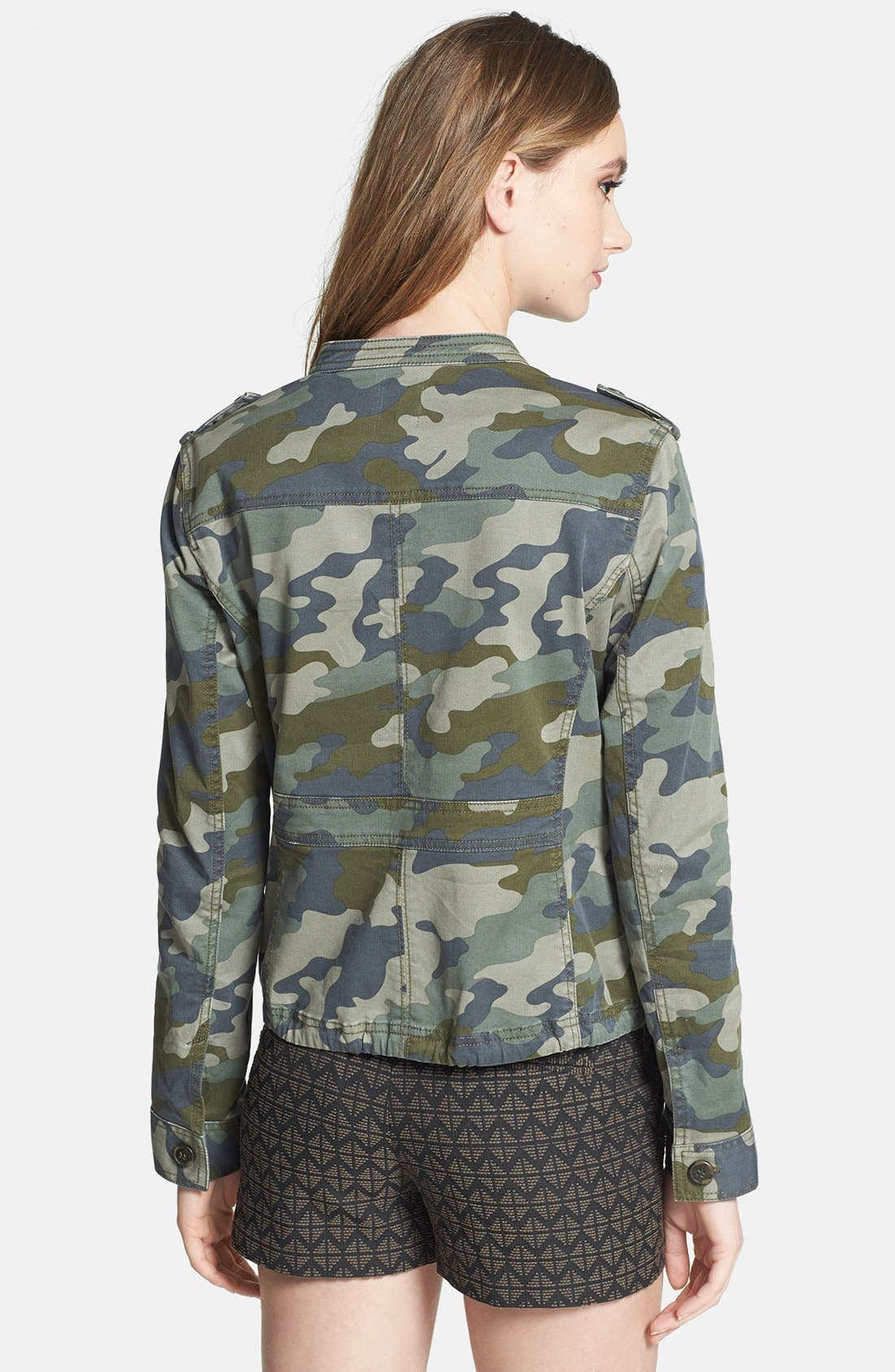 Alternate Image 2  - Halogen® Stretch Cotton Twill Military Jacket (Regular & Petite)