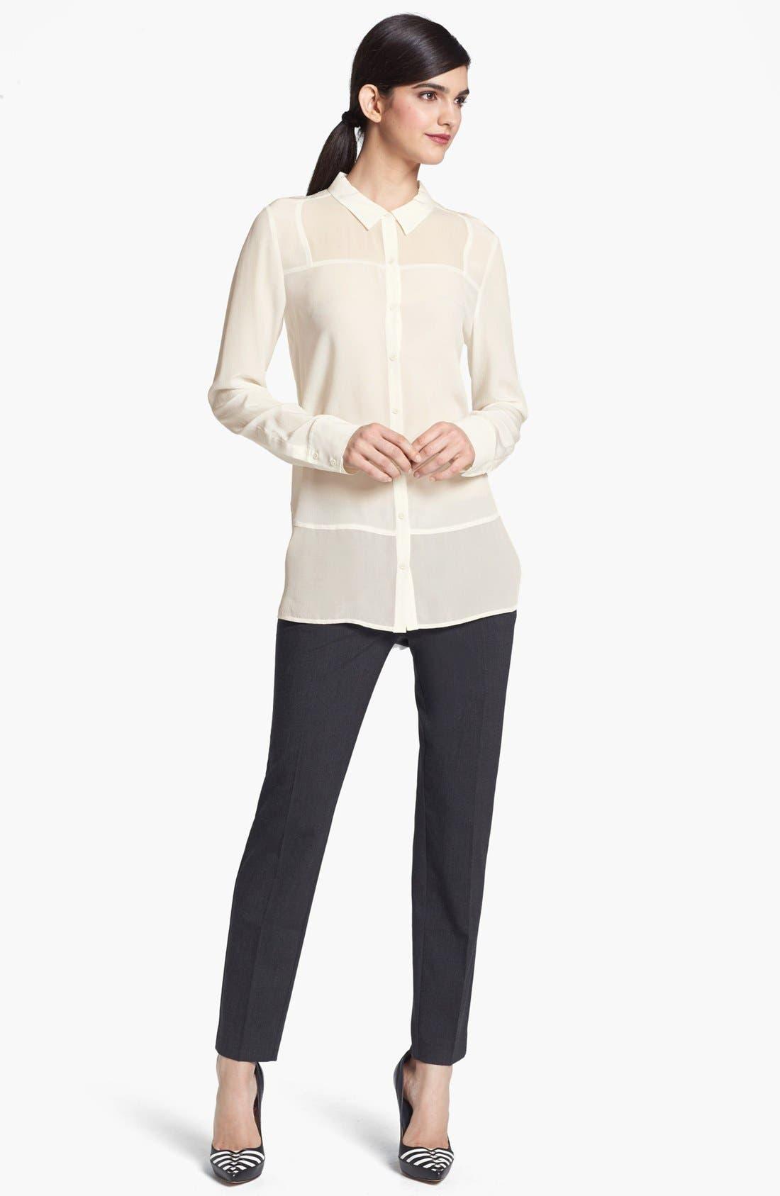 Main Image - Trouvé Tonal Panel Silk Shirt